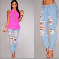 Hot Popular slim high Waisted ripped boyfriend holes pants Jeans a13612