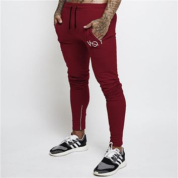 2017 Autumn New High Quality Jogger Embroidery Pants Men Cotton Fitness Bodybuilding Gyms Pants Runners Brand Clothing Trousers