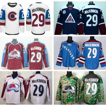 Nathan MacKinnon Jersey 29 Colorado Avalanche Stadium Series Ice Hockey Jerseys Nathan MacKinnon Team Color Navy Blue Red Alternate White