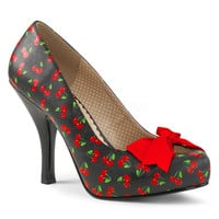 "Pin Up 05 Black Cherry Print Pump 4.5"" Heel Red Bow PRE-ORDER"