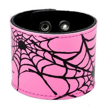 "Pink & Black Spiderweb Leather Wristband Cuff Bracelet 2-1/2"" Wide"