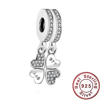 2018 Valentine's Day 925 Sterling Silver Beads Fit Original Pandora Charms Bracelet Best Forever Friends Dangle Charm With CZ