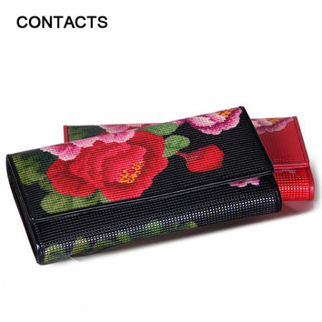2016 New Arrival Women's Wallet Genuine Leather Floral Print Tri-fold Long Ladies Purses With Zipper Coin Pocket Card Holder Bag