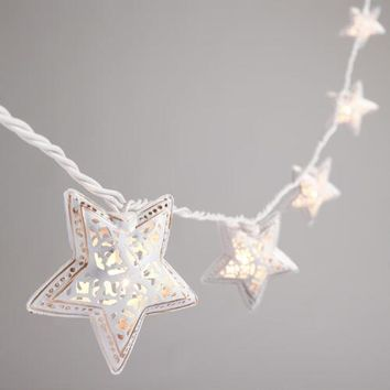 Ivory Filigree Star 10 Bulb String Lights