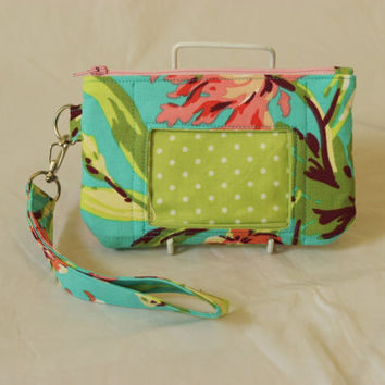 id wristlet - id pouch - zip id case - id holder - card holder wallet - mini wallet - cell phone wristlet - stocking filler READY to POST