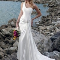 Sheath One Shoulder Hand Flower Sweep Train Beach Chiffon Wedding Dress