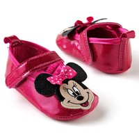 Disney Mickey Mouse & Friends Minnie Mouse Glittery Patent Mary Jane Shoes - Baby