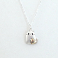 Lovely, Cat with gold heart, Silver, Necklace, Modern, Dainty, Kitten, Necklace, Lovers, Friends, Sister, Gift, Jewelry
