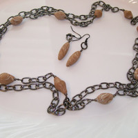Black Double Chain Necklace with Hand Made Polymer Clay Beads and Matching Earrings