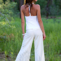 Low Rise White Linen Extra Wide Leg Pants by SarahReneeDesigns