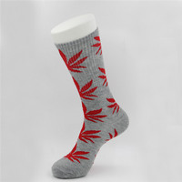 Marijuana Weed Leaf Printed Cotton Long Socks (Grey - Red)