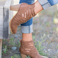 Walk My Way Basket Weave Booties (Brown)
