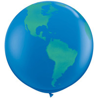 90cm GIANT WORLD BALLOON - Round Jumbo World Globe Balloon (90cm / 3 Feet)