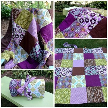 SAMPLE  Purple Green Brown Waterproof Beach Blanket Custom - Picnic Blanket - Portable Outdoor Camping Blanket (00)