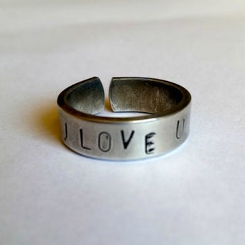 Love you ring, Love ring, Valentine gift, Hand stamped  ring, personalized ring, custom ring, aluminium ring, Stacking ring, Stackable ring,