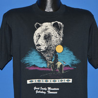 90s Great Smoky Mountains Bear Full Moon t-shirt Medium