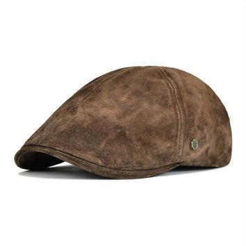 Newsboy Genuine Suede Leather Cap (10 Colors)