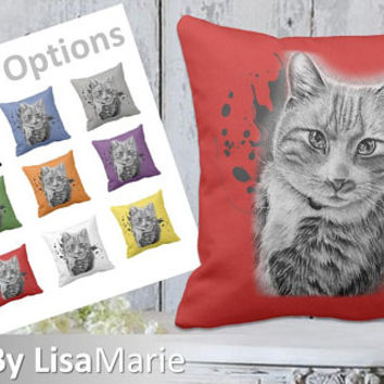 Kitty Cat Pillow | Girlfriend Gift | Cat Pillow | Kitten | Fiance Gift | Gift For Cat Owner | Pet Lover Gift | Cat Gift | Cat | Cat Art