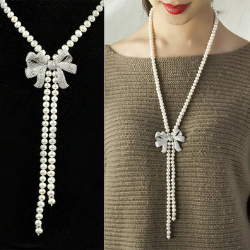 New Arrival Jewelry Stylish Shiny Gift Pearls 925 Silver Sweater Chain Accessory Necklace [4914868996]