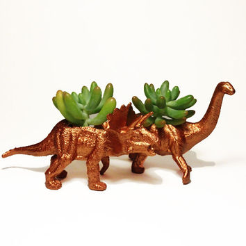 Up-cycled Small Bronze Triceratops and Apatosaurus Dinosaur Planters