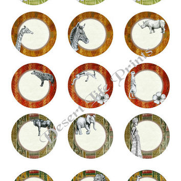 DISTANT LANDS - 1.0 inch Circles - Collage Sheet Art for Editable, Bottle Caps, Arts and Crafts dc1004 - Instant Download