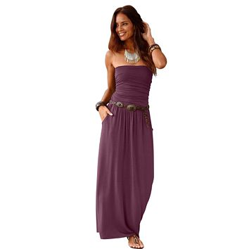 Purple Strapless Bodice Empire Waist Pockets Maxi Dress