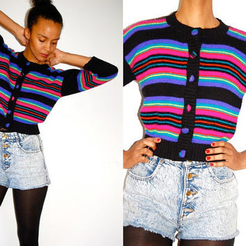 Vtg Neon Striped Cropped Button Down Knitted by LuluTresors