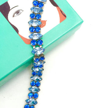 Blue Rhinestone Bracelet, Soft Blue Marquis Montana Blue Chaton Rhinestones, Silver Tone, Vintage Wedding Jewelry, Special Occasion