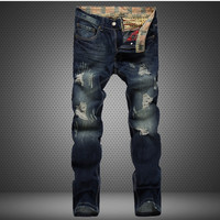 Men Ripped Holes Pants Rinsed Denim Denim Jeans [6528347011]