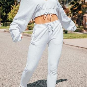 White V-neck Letter Embroidery Drawstring Waist Puff Sleeve Crop Top