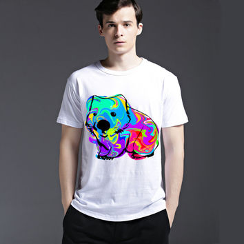 Dogs Stylish Lovely Cotton Men's Fashion Cute Fashion Short Sleeve Summer Pattern Tee Casual T-shirts = 6450956547
