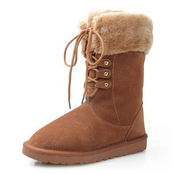 ZLYC Rabbit Fur Trim Brown Lace Up Mid Calf Boots (5.5)
