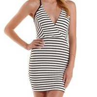 Ivory Combo Lace-Back Striped Bodycon Dress by Charlotte Russe
