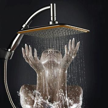"new arrival Chrome Finished Wall Mounted Brass Shower Arm + Ultrathin Square 9"" Shower"