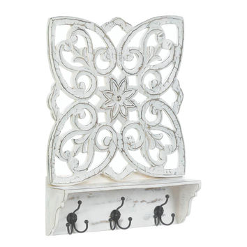 Wall Decor Shelf-White Distressed Wood Floral With Hooks