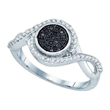 10KT White Gold 0.20CTW BLACK DIAMOND MICRO-PAVE RING