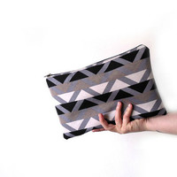 Clutch Purse, Tribal print , Triangles, Black, grey and white