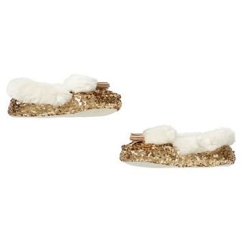Gold Sequin Faux-Fur Moccasin Slippers