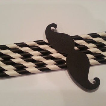 "Set of 50 Black Moustache Mustache 3 1/2"" Diecuts Paper Punch for Party Favors Straws Props Parties Confetti"