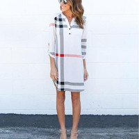 White Plaid Long Sleeve Shift Dress