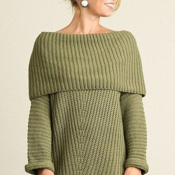 Freebird Olive Off Shoulder Sweater - FINAL SALE