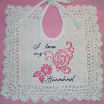 Embroidered Baby Bib, Lace Trim, vintage style, I love Grandma, Aida cloth bib, tie back bib, girl baby bib, burp cloth, infant bib