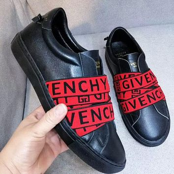 Givenchy Fashion women men stripe letters shoes from contrast shoes Black+red stripe
