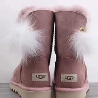 UGG Women Fur Leather Shoes Winter Half Boots Shoes