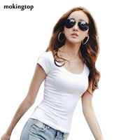 T Shirt Women Summer Short Shirts Solid O-Neck Casual Shirt Tops Plus Size S/M/L/XL/XXL #B706