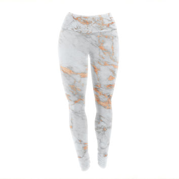 "KESS Original ""Rose Gold Flake"" White Pink Yoga Leggings"