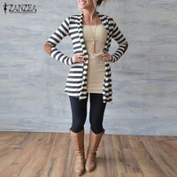 Plus Size Knitted Sweaters 2016 Brand Womens Casual Striped Coat Cardigan Jacket Fashion Lady Chaquetas Mujer Open Stitch Blusas