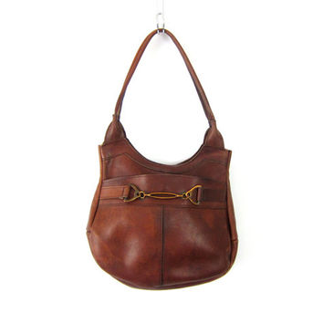 Cognac Brown 70s Leather Shoulder Purse BOHO hippie Handbag Vintage 1970s Hipster Bag