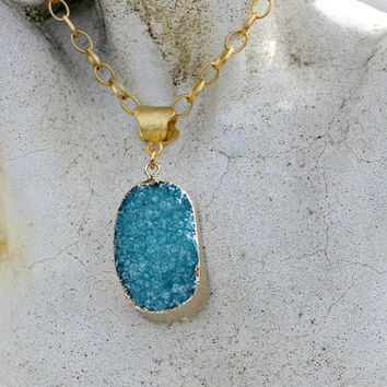 Large Chunky Natural Druzy Agate Pendant - Teal Blue Green, Gold Plated, Long Chain, Gemstone, Gift for Her, Bridesmaids