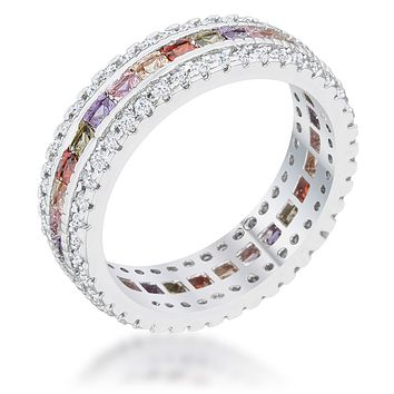 Delvani Cubic Zirconia Simulated Colors of Sapphire Eternity Band Ring, Platinum Clad